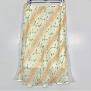 Vintage | Early 90's Yellow Blue Floral Midi Skirt